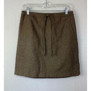 Loft Skirt Herringbone Waist Tie Wool Blend New